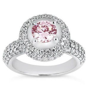 3.21 ct  Round pink diamond solitaire accents ring